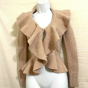 MODA Dusty Rose Ruffled Sweater Cardigan Sz S U14E